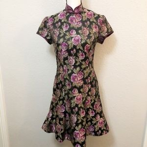 Tapestry Dress Black With Purple Roses Sz M